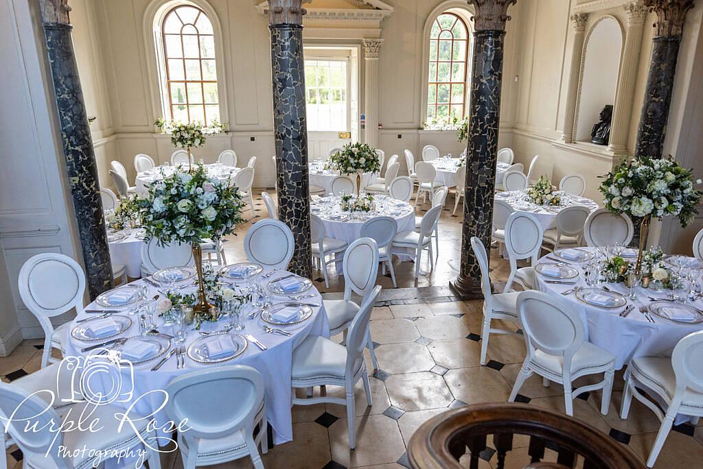 Chicheley Hall set up for wedding breakfast