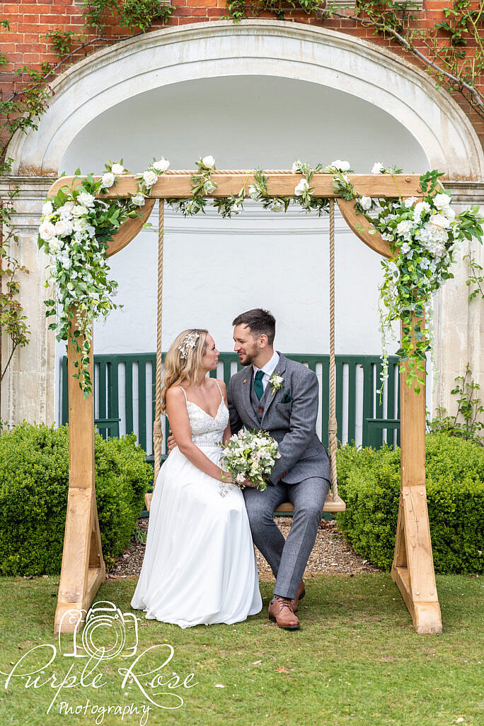 Floral covered swing