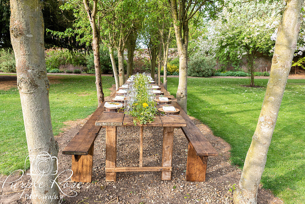 Wedding meal in the venues gardens