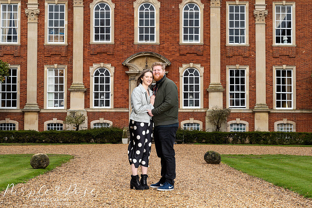 Couple standing in front of Chicheley Hall