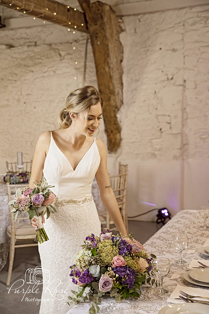 Bride in her wedding venue
