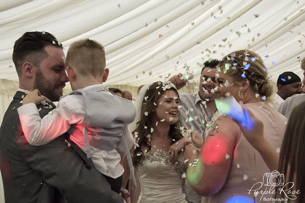 Wedding party enjoying the evening dancing