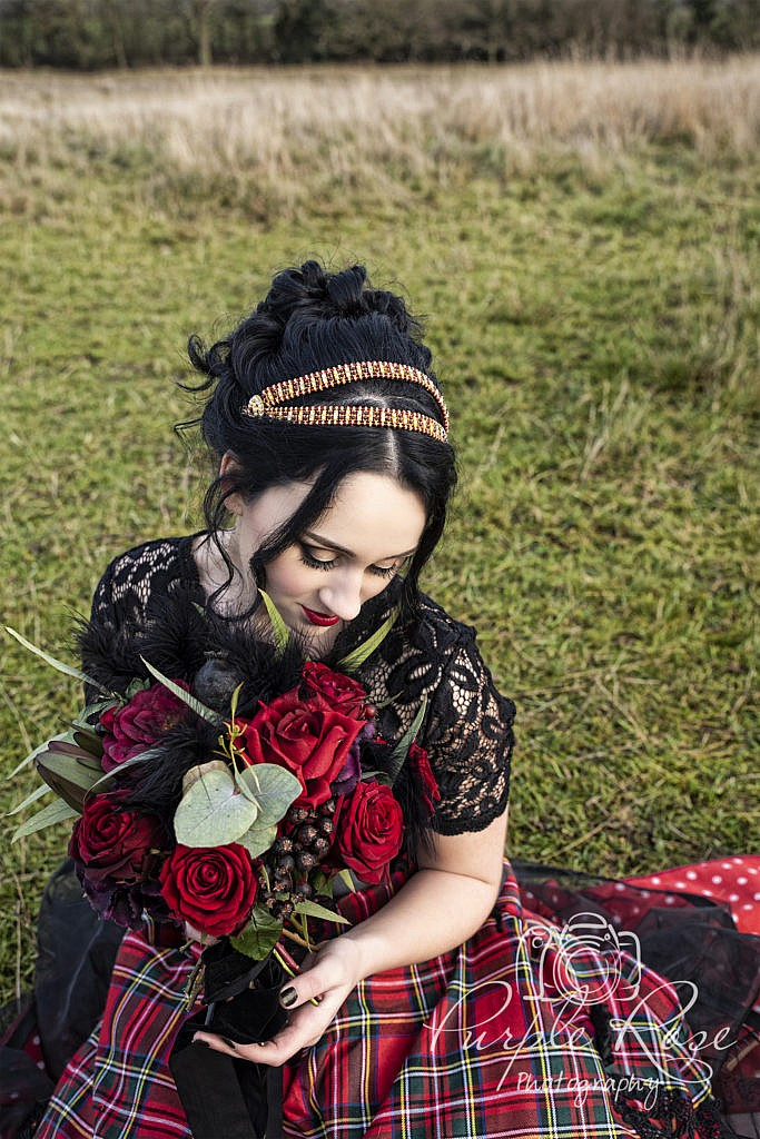 Gothic bride and bouquet