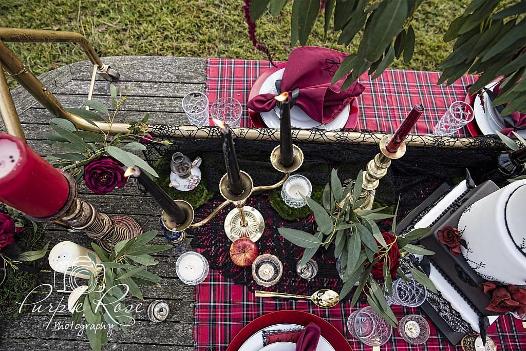 Gothic wedding table setting