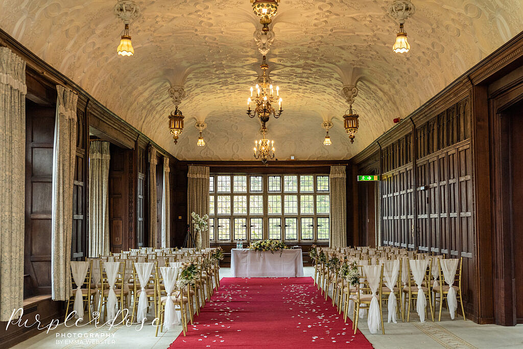 The ceremony room at Farnham Manor