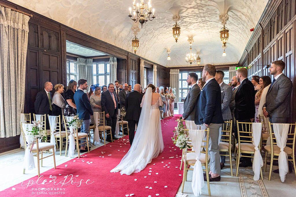 Bride walking into the wedding ceremony