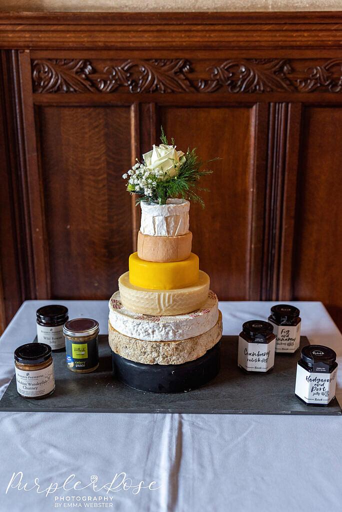 Cake made of cheese wheels