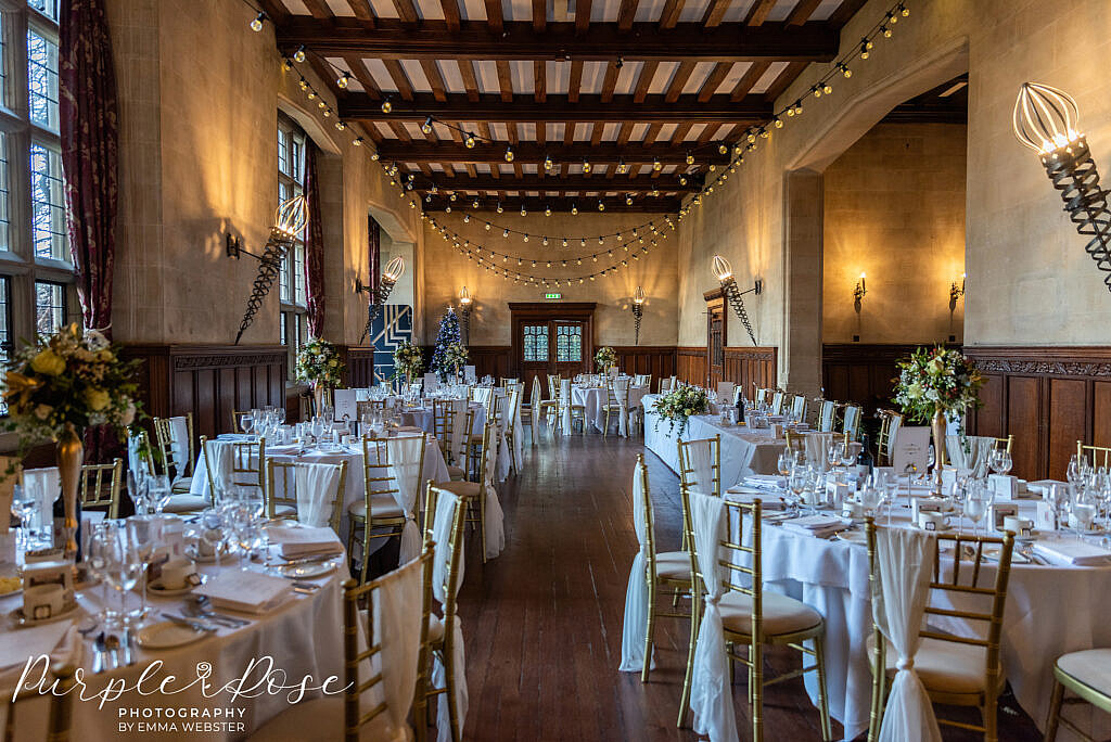 Reception room decorated with fairy lights