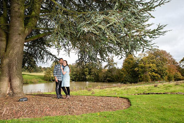 Couple stood under a large tree