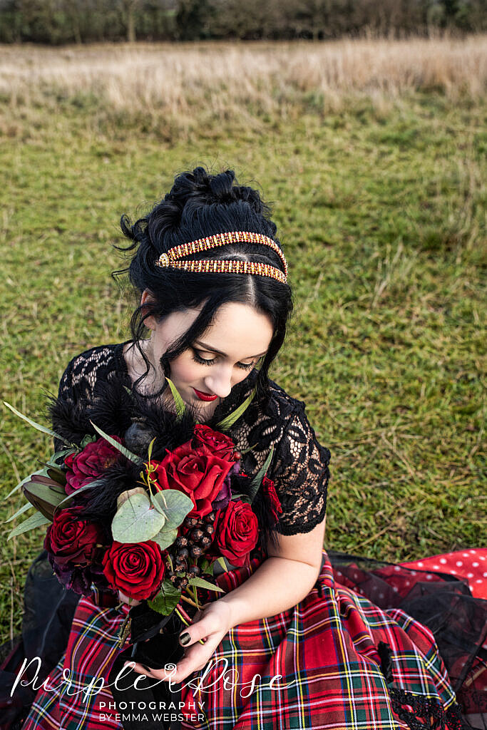 Bride holding her wedding flowers