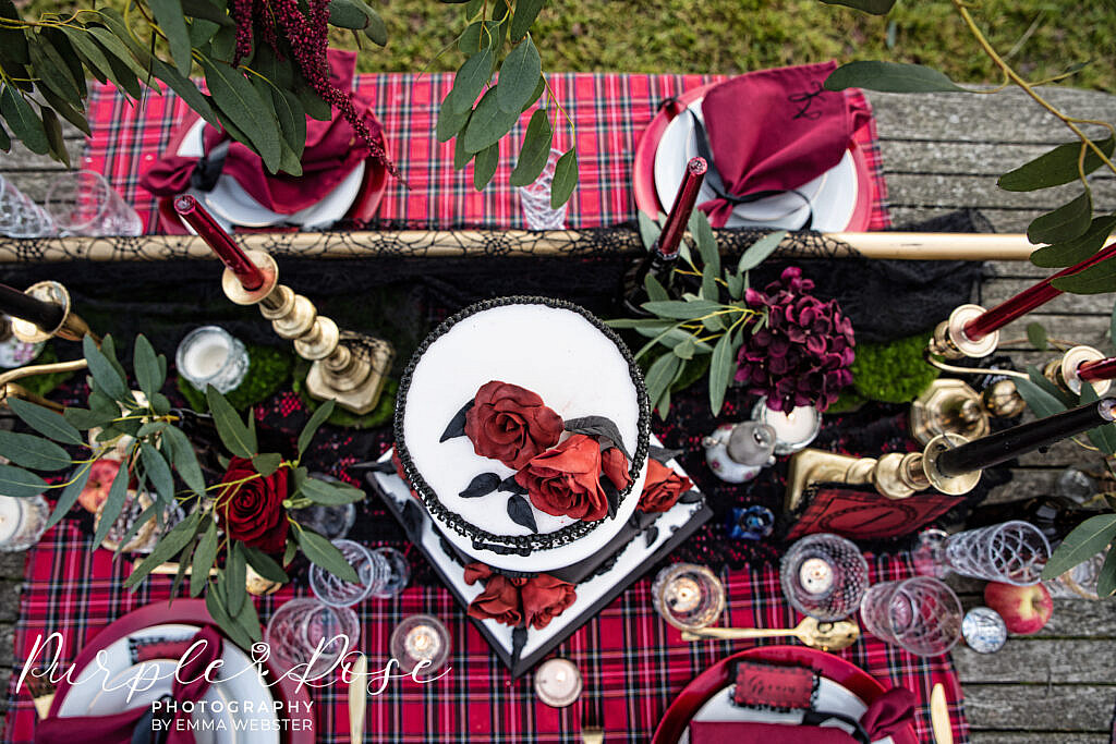Aerial photo of wedding table