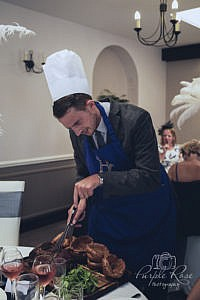 Wedding guest preparing the meal