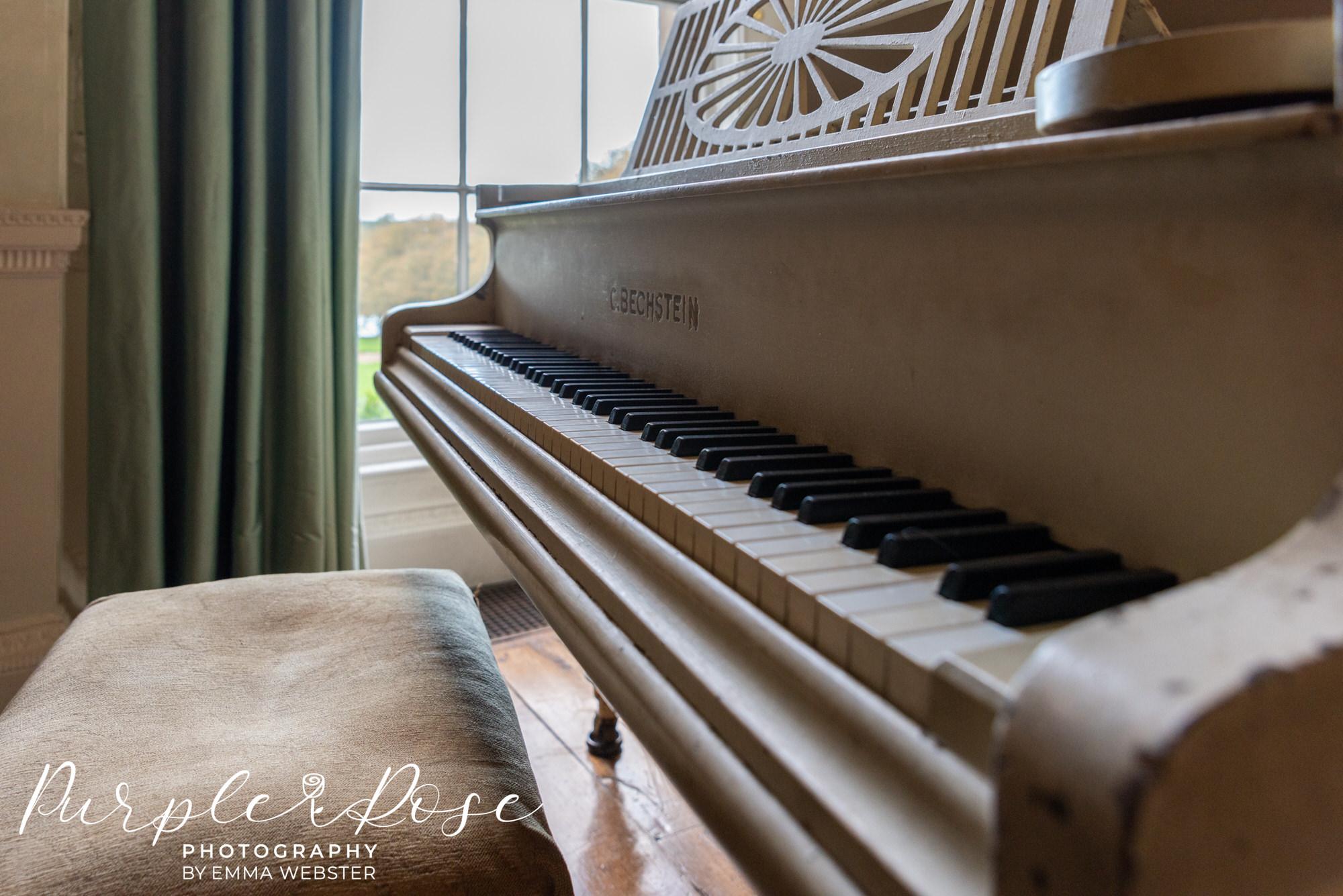 Close up of a piano at Kelmarsh Hall Northampton
