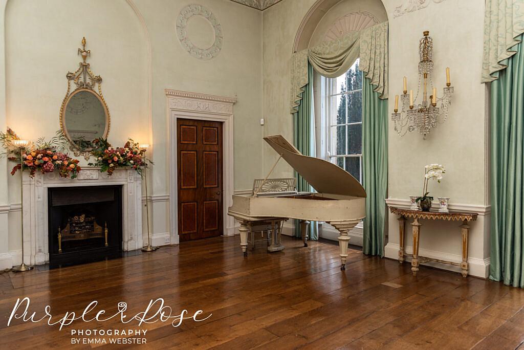 Grand piano at Kelmarsh Hall Northampton