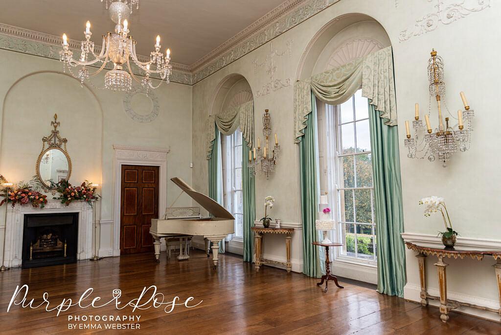 Room with wedding cake in at Kelmarsh Hall Northampton