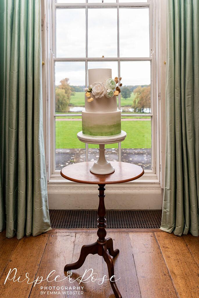 Green and white wedding cake in Kelmasrsh Hall Northampton