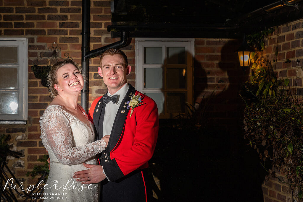 After dark photo of a bride and groom
