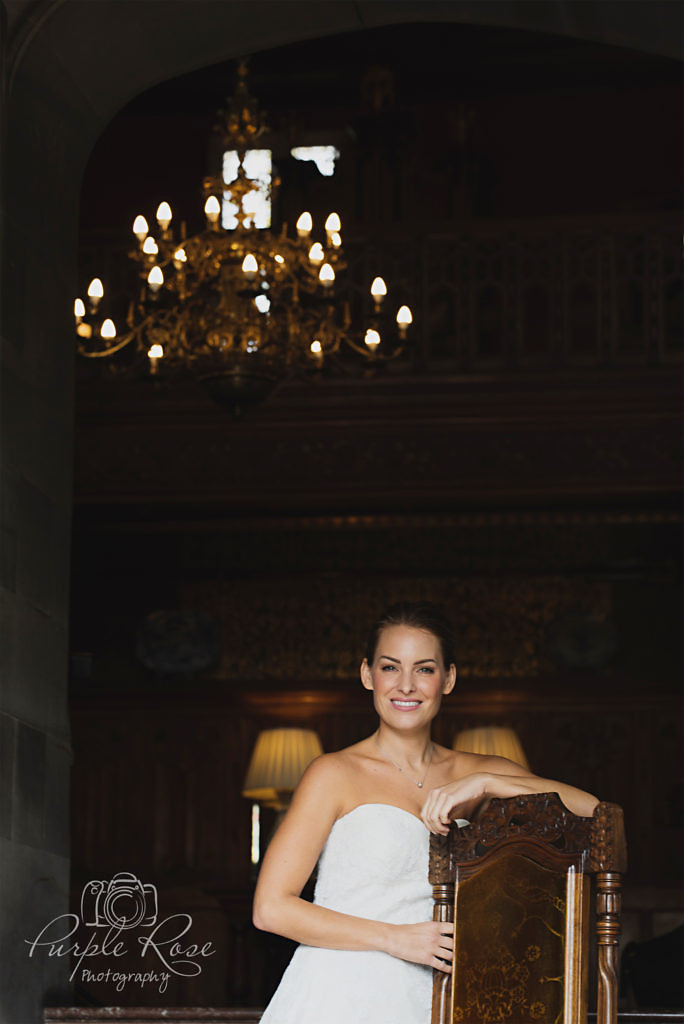 Bride leaning on a chair