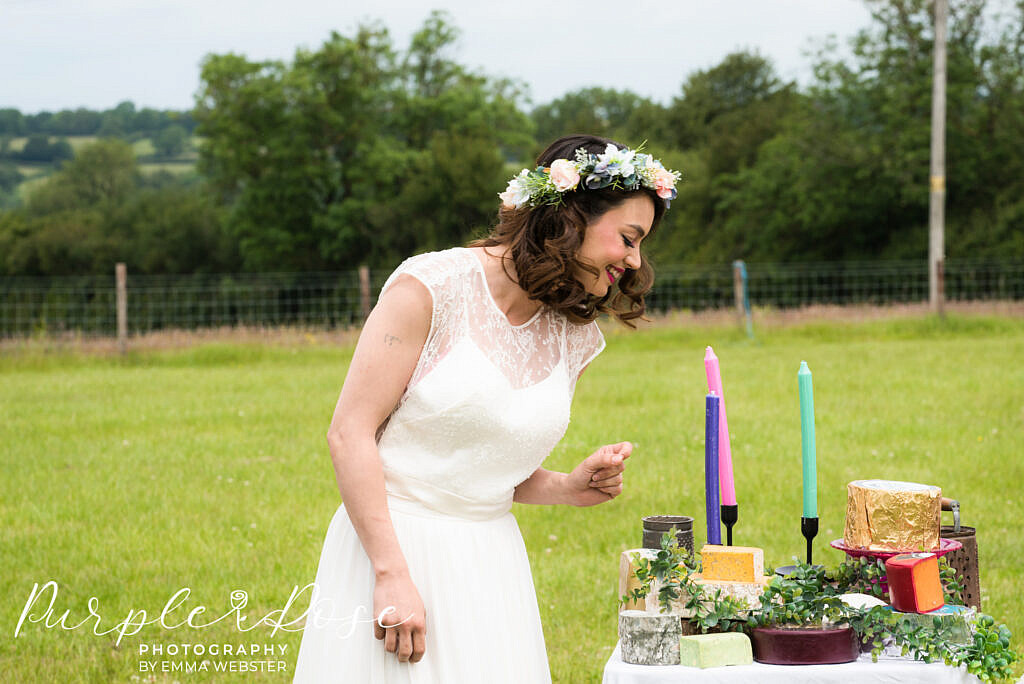 Bride investigating her cheese platter