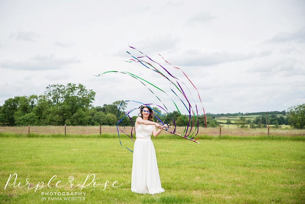 Bride swirling ribbons
