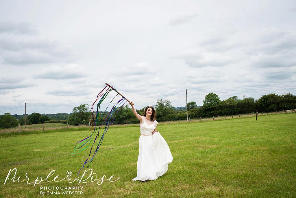bride at an outdoor venue