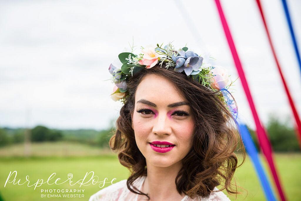 Closeup photo of a bride
