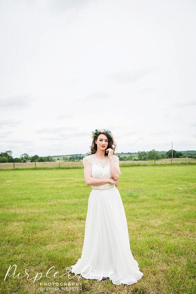 bride in a two piece wedding dress