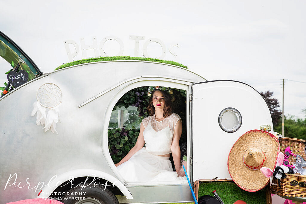 Bride in a photo booth