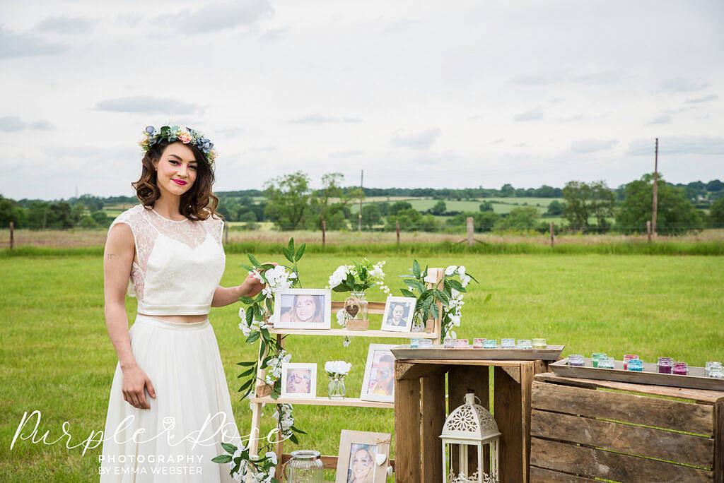 bride leaning on step frame