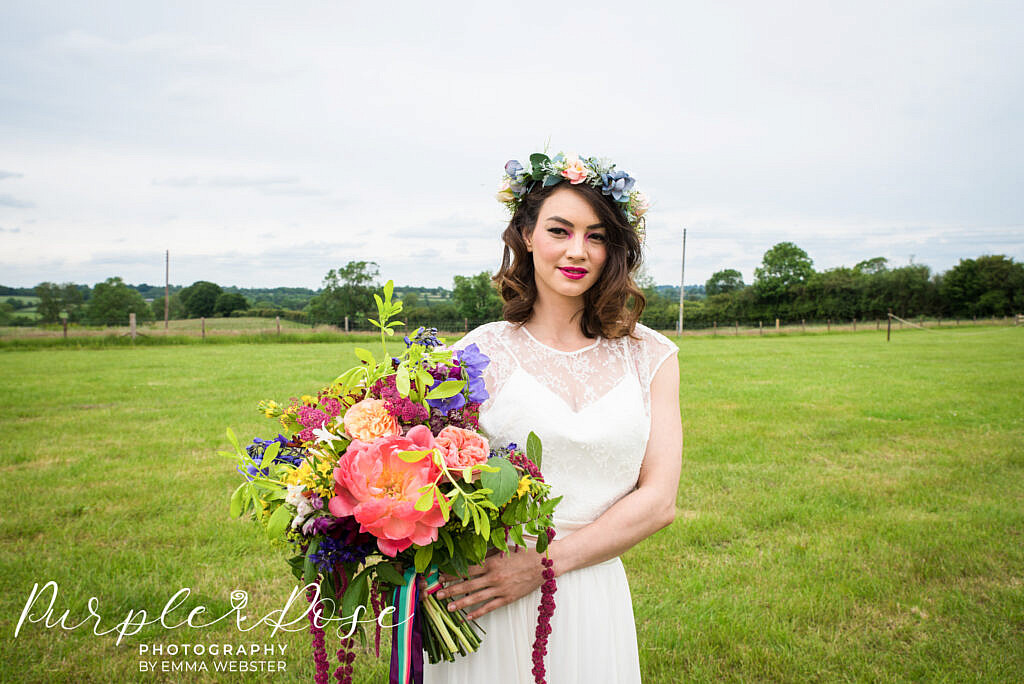 Bride with a large wedding bouquet