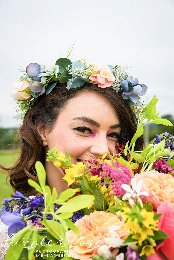 bride framed by flowers