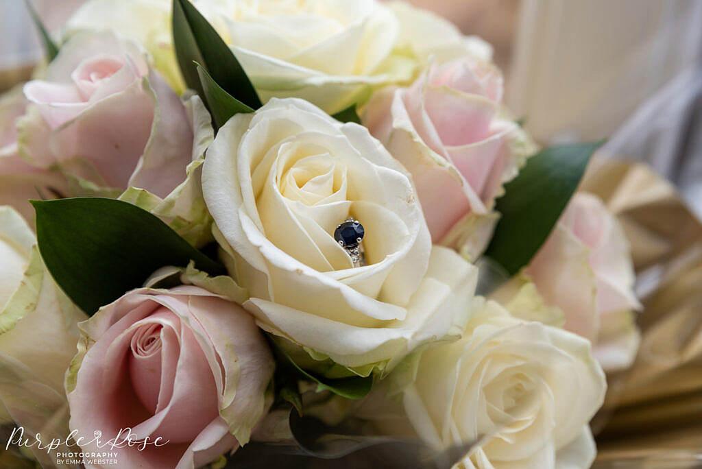 bridal bouquet a engagement ring