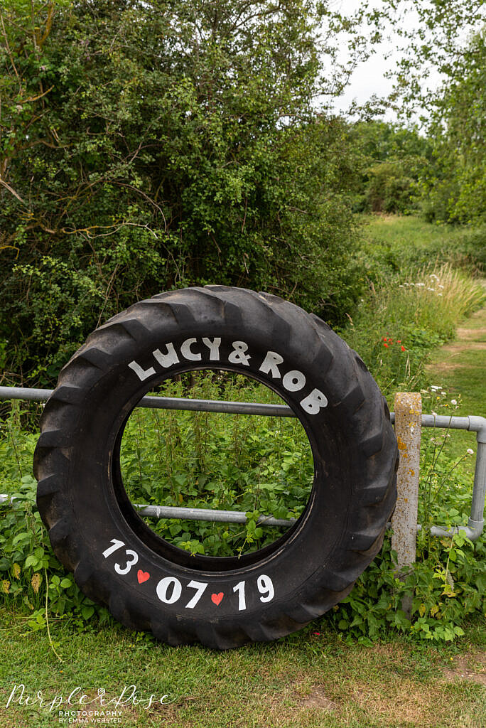 Tractor tyre painted with couples name and wedding date