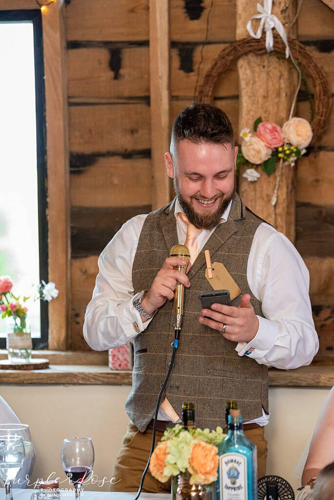 groom giving his speach