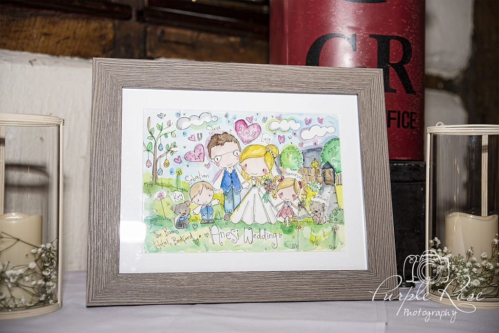 Fun family drawing on their wedding day