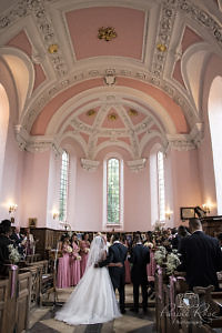 Bride and groom standing in the church