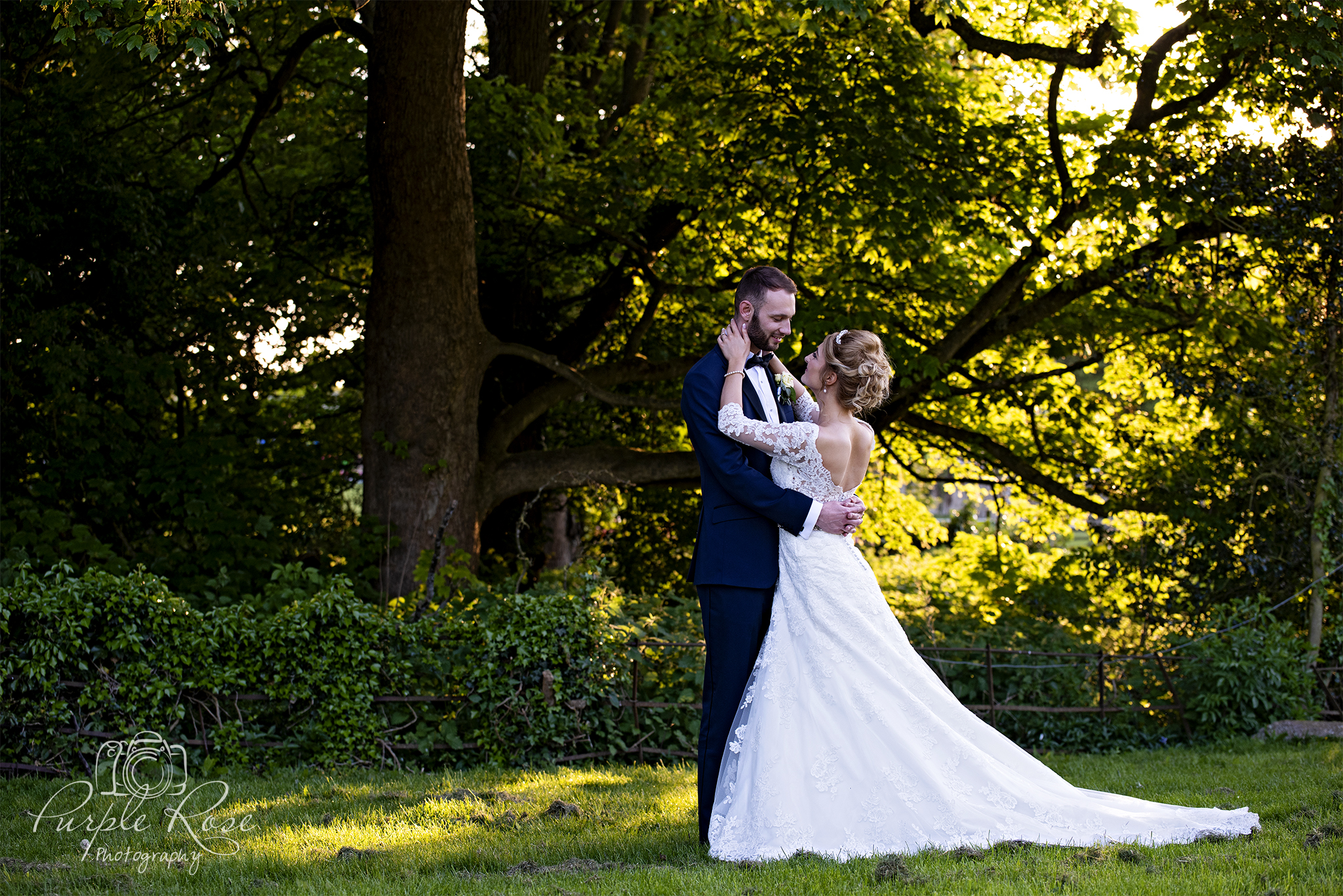 Bride and Groom at sunset at Pendley Manor