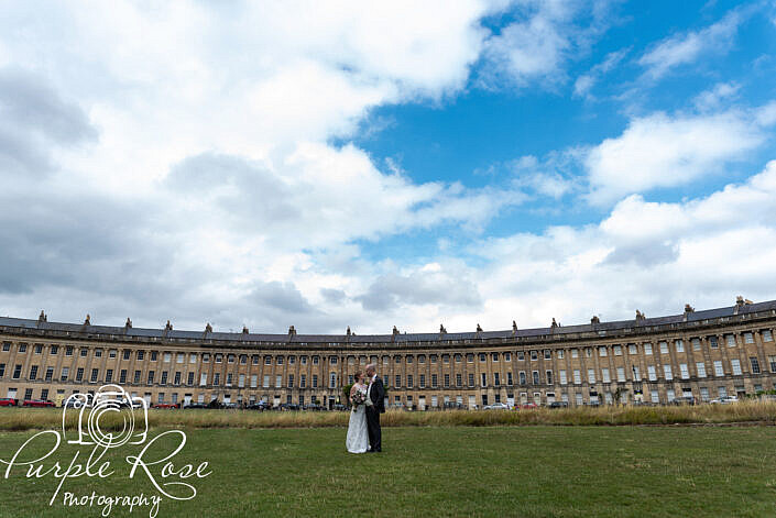 Bride and groom in front of bath royal circle