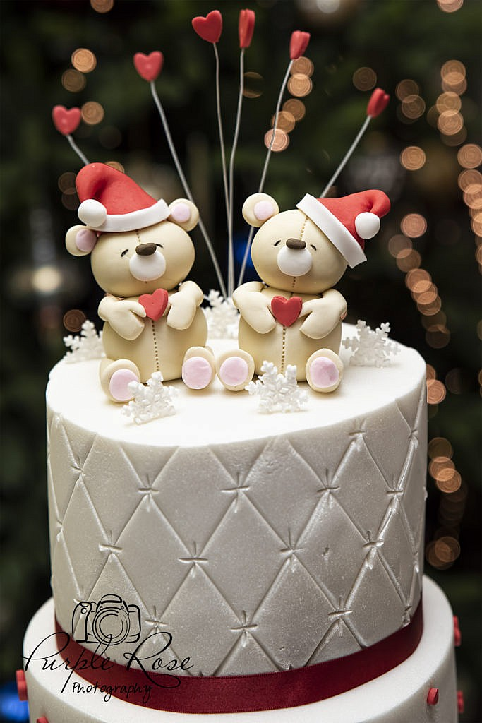 Christmas themed wedding cake topper