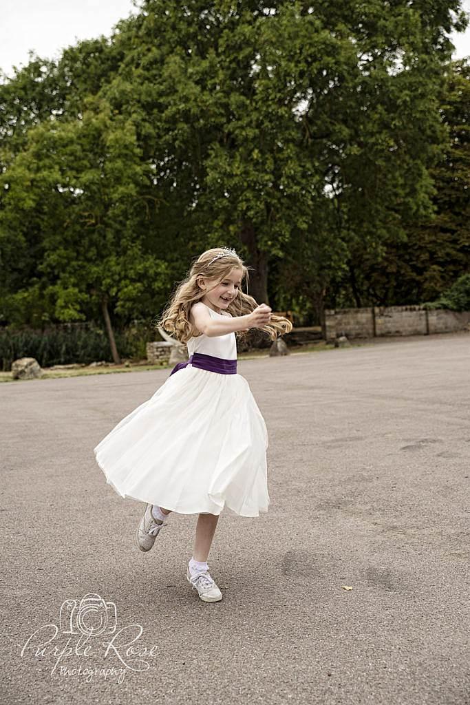 Flower girl running