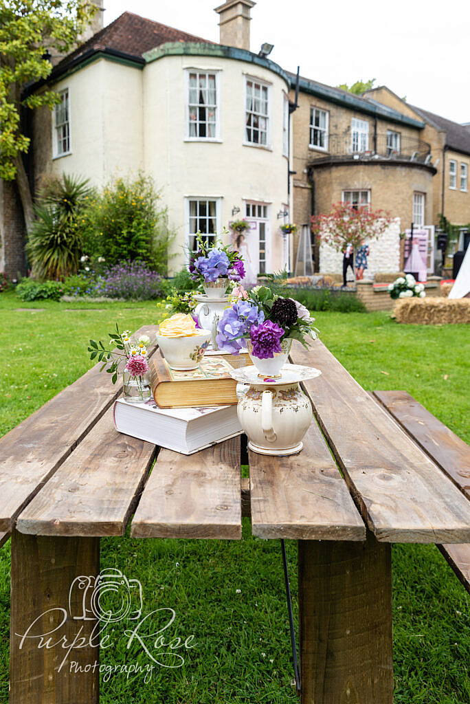 Table full of floral displays