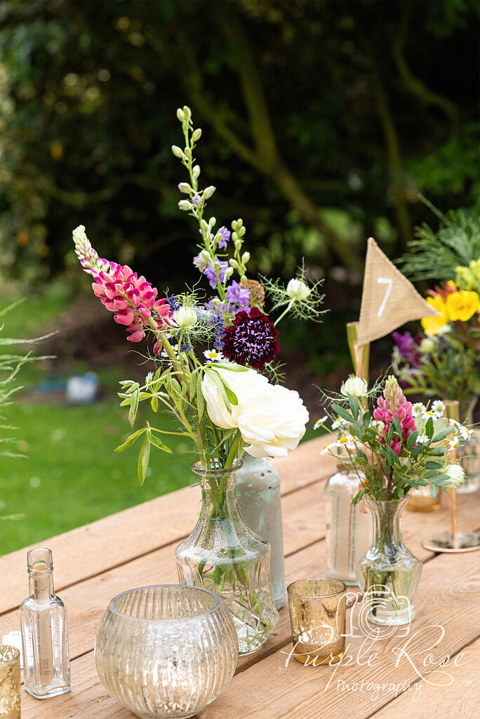 Flowers with a table number