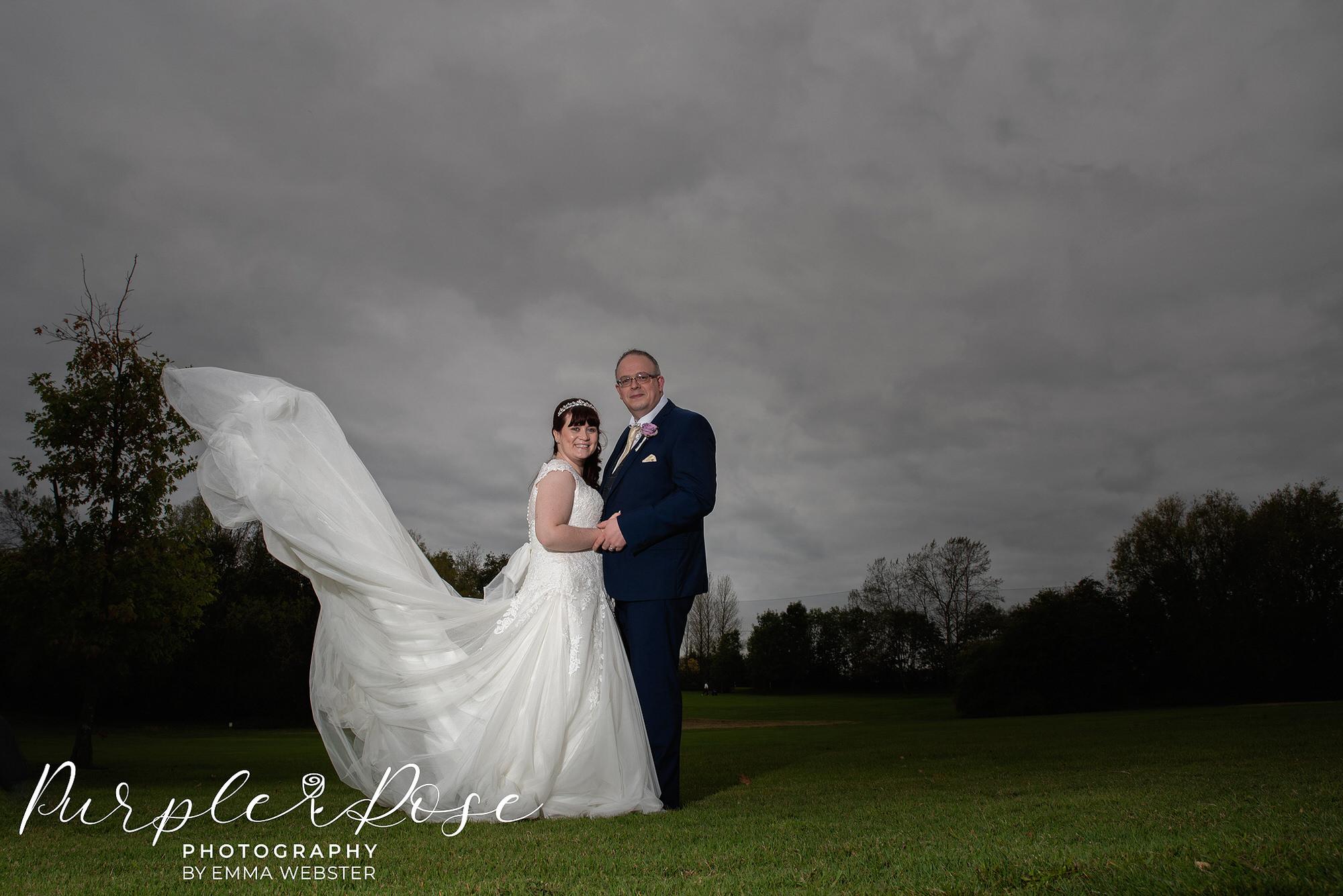 Brides dress flowing