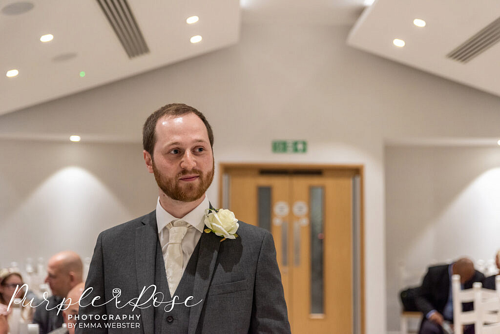 Groom waiting for his bride to arrive