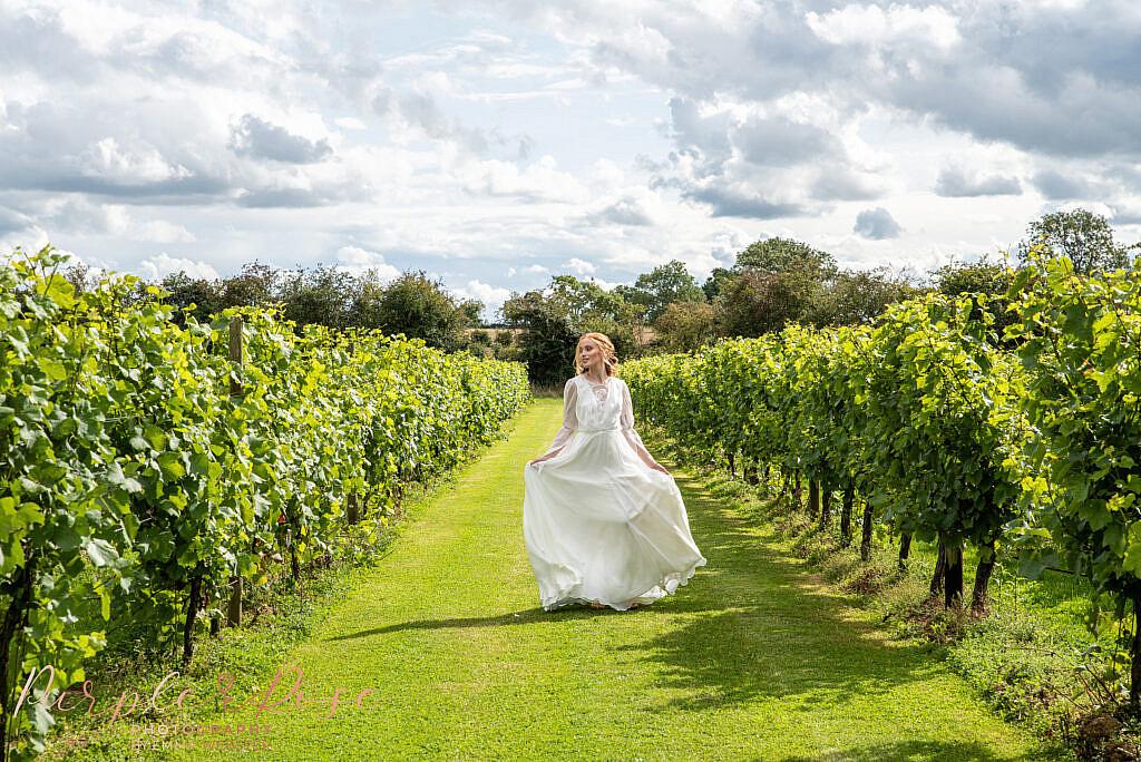 Bride standing in vineyard