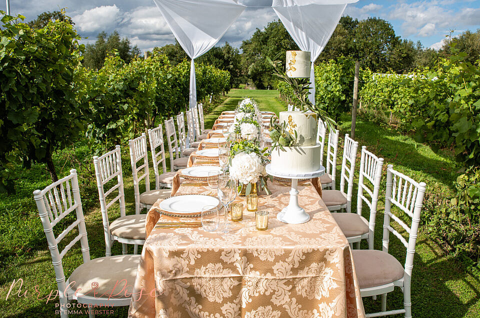 Intimate wedding breakfast set up