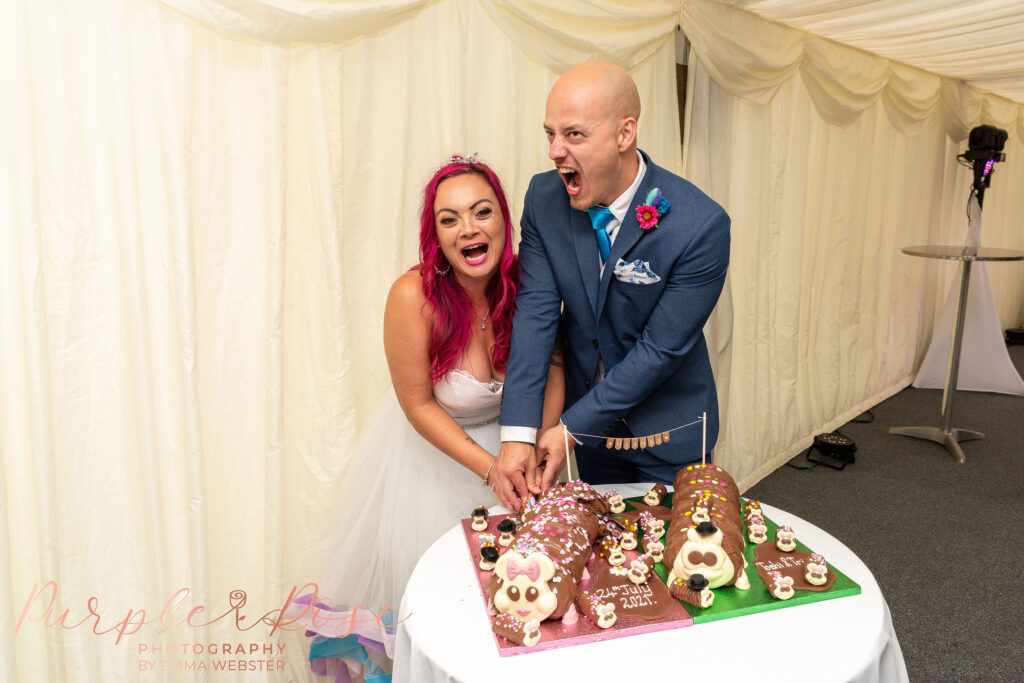 Bride and groom aggressively cutting their wedding cake