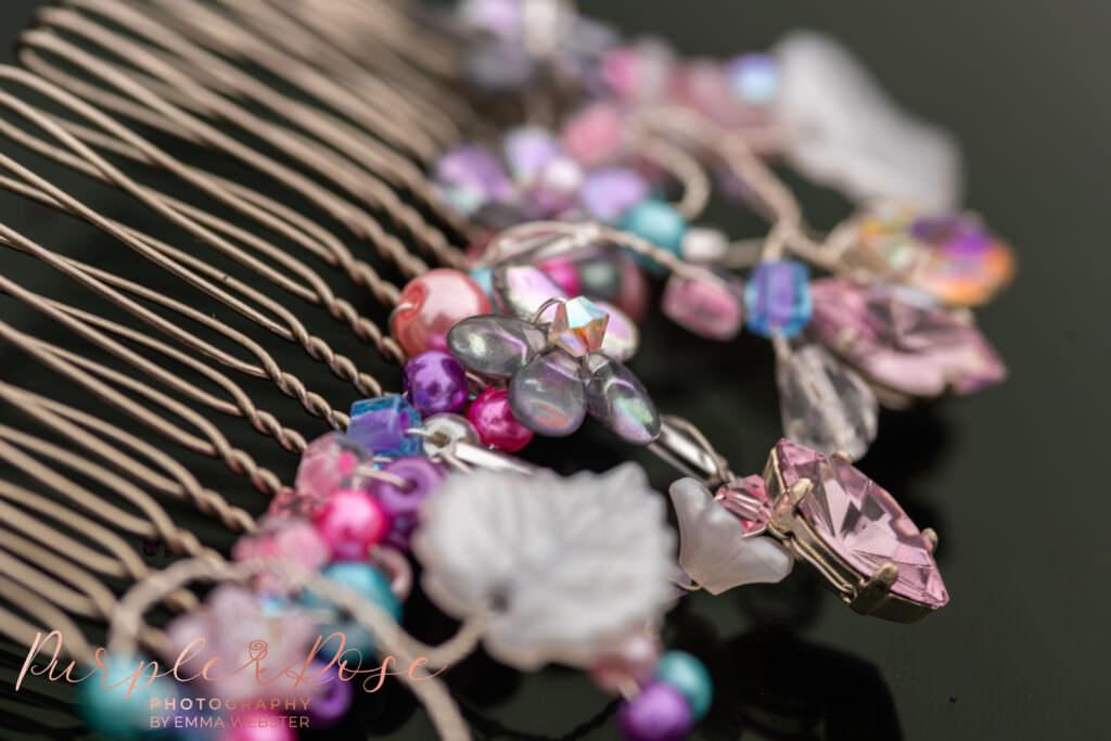 Brides colourful hair grip