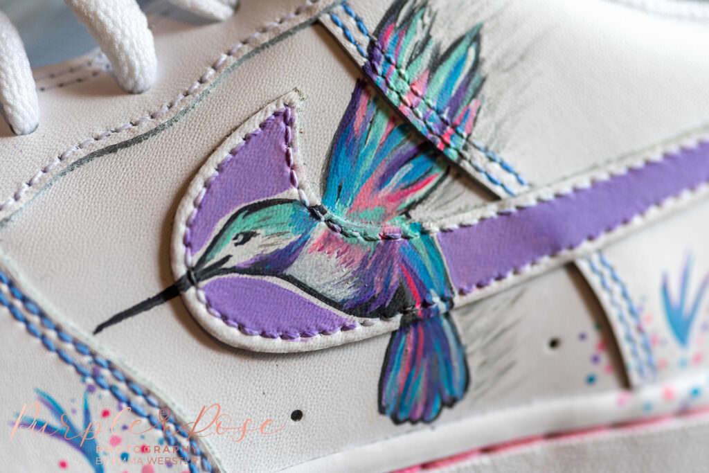 Humming bird on brides shoe